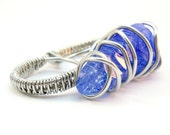 Blue Quartz Two Finger Ring / Raw Crystal Jewelry / Boho Statement Ring