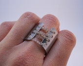 Corset Ring, Custom Stamped Ring, Personalized Wide Band Ring, Edgy BDSM Jewelry
