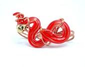 Huge Snake Ring -  Multi Finger Knuckle Ring with Skull, Red Three Finger Ring