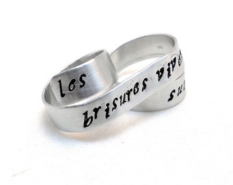 Personalized Two Finger Ring Silver Tattoo-style Banner Ring Personalized Jewelry Modern Rebel