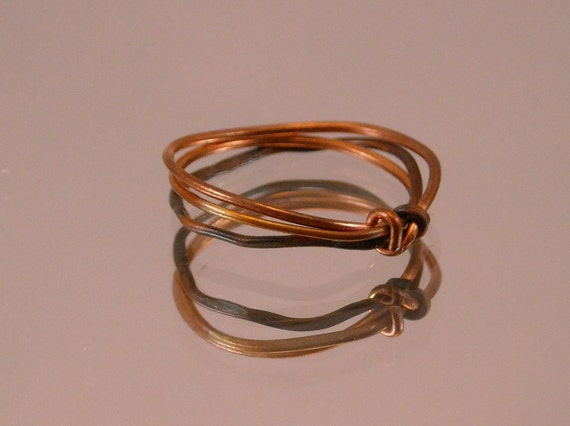 antiqued copper simple knot ring by mercurios on etsy
