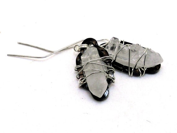 SALE - Raw Crystal Earrings - Geometric Jewellery - Sterling Silver - Summer Fashion