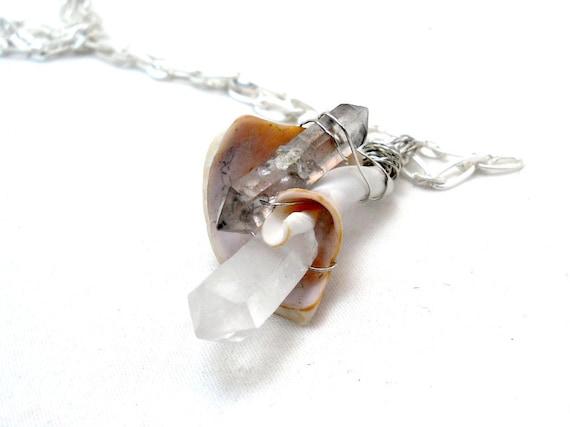 Raw Crystal & Sea Shell Necklace - Eco Fashion Jewelry