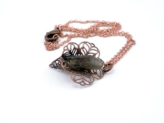 Smoky Quartz Spike Necklace, Antique Looking Crystal Necklace, Raw Gemstone Jewelry