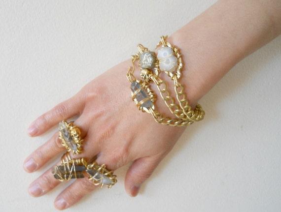 Solar Quartz Bracelet - Geometric Jewelry, Crystal Bracelet, Gold Brass Bracelet