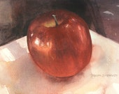 5 x 7 inch Ruby Red APPLE Watercolor Original STILL LIFE Painting by Susan Kennedy