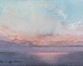 Dreamy Sunrise at Edisto,  Original Watercolor Miniature on Paper