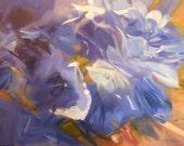 Blue Hydrangea Painting - 12 x 16 Original Oil on Canvas Panel