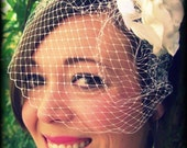 Mini Birdcage Veil - Bridal Retro 9 inch Russian Veiling with 1 haircomb Pick your color