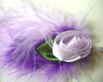 Lilac Hairclip Feather Fascinator Retro Style Dainty