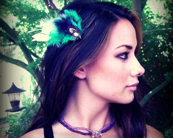 Turquoise Feather Fascinator Hairclip Retro Style Dainty