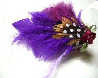 Purple Feather Fascinator Hairclip Retro Style Dainty Made to order