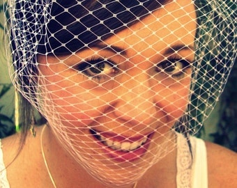 Full Bridal Birdcage Veil 18 inches White, Ivory, or Black retro