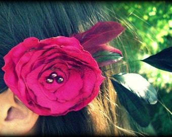 Fuschia Flower Fascinator Hair clip with feathers and freshwater pearls