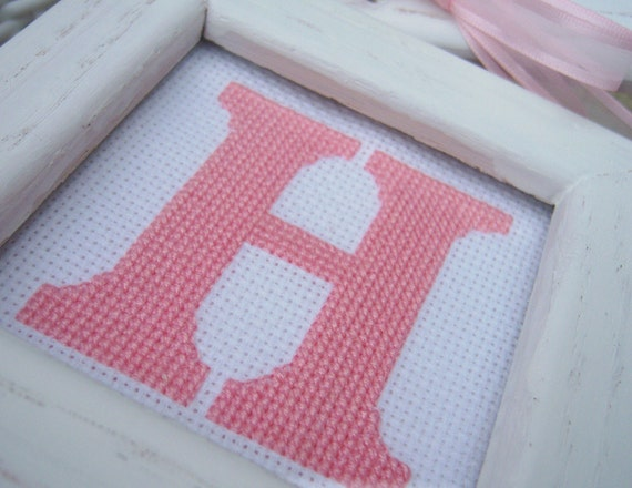 H is for Hope Cross Stitched Wall Art