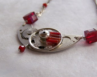 Steampunk Necklace -- Thin Red Line SNK048