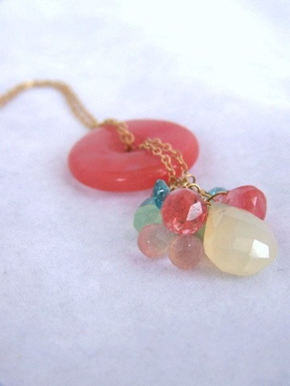 Necklace, Pastel Gemstone Pendant   BN02