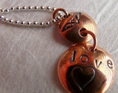 Love - Hand Stamped Copper Pendant Necklace