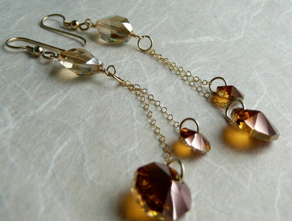 Starlet - Austrian Crystal and Gold Earrings