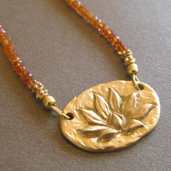 RESERVED . SALE Lotus Pendant Necklace . Orange Sapphire . Vermeil Gold