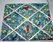 Spring Birds Memory Board French Memo Board on Etsy Fabric Board, Ribbon Board, Photo Board, Bulletin Board, Pin Board,Blue, Yellow, Red,