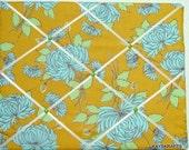 Designer Aqua Flower on Mustard Memory Board French Memo Board 20X16 Amy Butler on Etsy