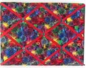 Fireworks Memory Board French Memo Board, Fabric Ribbon Bulletin Board,  4th of July Gift, Ribbon Pin Board, 4th of July Decor