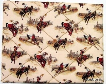 Western Bronco Rider Memory Board, Cowboy Bronco Rider French Memo Board, Cowboy Fabric Ribbon Bullletin Board, Ribbon Photo Board,  Western