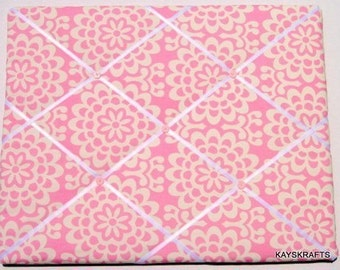 Pink Wallflower Memory Board French Memo Board, Fabric Ribbon Memo Bulletin Board, Ribbon Pin Board, Bedroom Decor