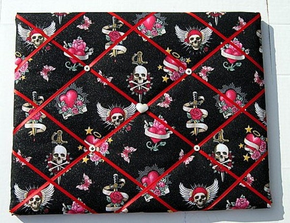 Tattoo Pirate Love Memory Board French Memo Board, Valentine Sweethearts Memory Board, Ribbon Pin Board, Fabric Bulletin Board, Gift For Her