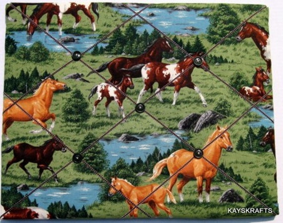 Horses Memory Board French Memo Board 20X16 on Etsy Fabric Board, Ribbon Board, Photo Board, Bulletin Board, Cowboy, Western, Boys