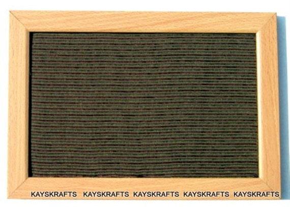Green Burgundy Stripes Fabric Covered Framed Cork Board Bulletin Board 12X8 on Etsy