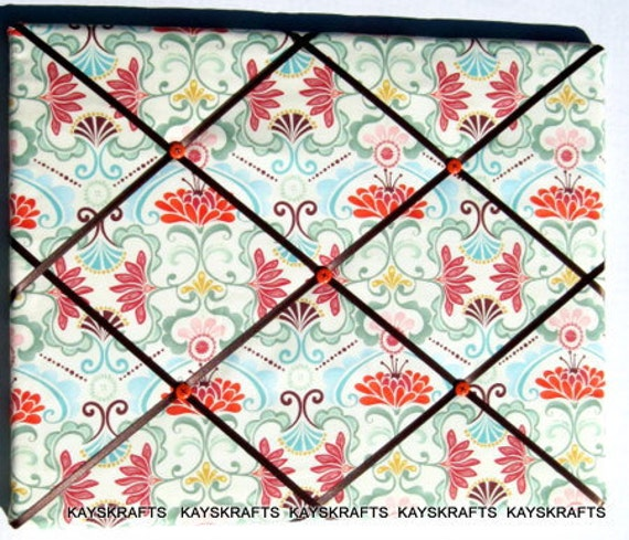 Sand Fandango Memory Board French Memo Board 24x18 on Etsy Kate Spain Fabric Board Ribbon Board Photo Board Bulletin Board Pin Board Women