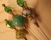 3 Assorted Green Vintage style Hatpins 6 inches,Crystal beads,Stick pin,Hat,We sell hatpin blanks,Make your own.S7