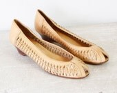 Golden Honey Caged Leather Wood Wedges