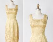 1960's Gold Wiggle Dress Brocade Aline
