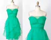 RESERVED for Xiaka Green Organza Petal Strapless Cocktail Dress