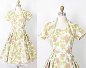 Green Yellow Print 1950s Dress Full Skirt