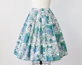 Full Skirt House Print Mid Century Green Blue 1950s