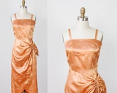 Butterscotch Bow Wiggle Cocktail Party Dress Feather Print