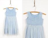 1950s Full Skirt Flower Girl Wedding Blue Tulle VIntage Dress