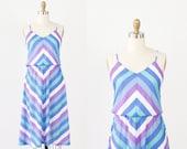 Blue & Purple Chevron Stripe Dress with Semi Full Skirt