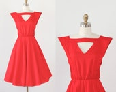 Red Triangle Cut Out Full Skirt Dress