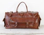 Dark Brown Leather Travel Satchel Bag Large Vintage