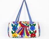 Ethnic Multi Colored Embroidered Barrel Travel Bag Vintage