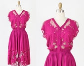 Raspberry Net Openwork and Floral Embroidery Dress