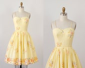 Yellow Gingham Floral Print Full Skirt Dress