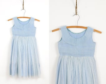 1950s Full Skirt Flower Girl Wedding Blue Tulle VIntage Dress