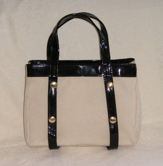 CANVAS AND PATENT VINTAGE BAG