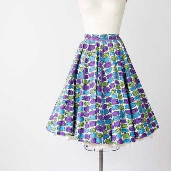 Full Circle Skirt Owl Print 1950s Cotton
